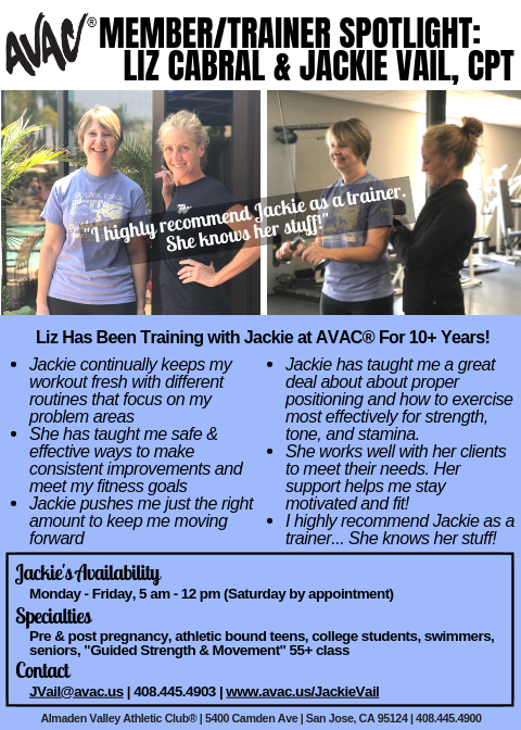 2967029749a Almaden Valley Athletic Club AVAC® Member   Trainer Spotlight